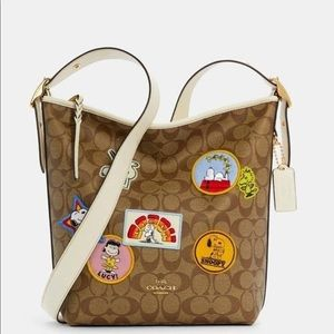 Coach Peanuts Snoopy Val Duffle Bag Varsity Patche